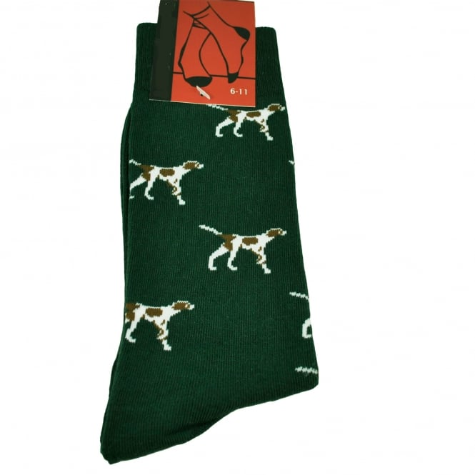 Pointer Dog Green Men's Novelty Socks