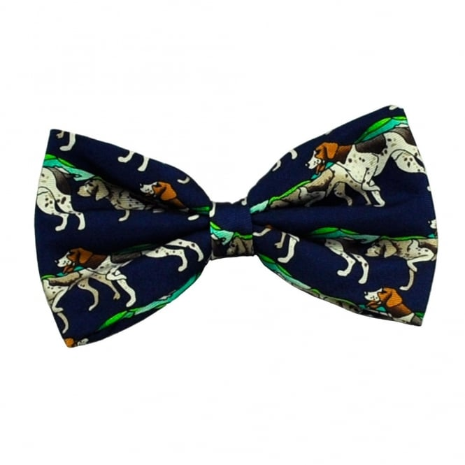 Pointer Gun Dog Blue Silk Bow Tie