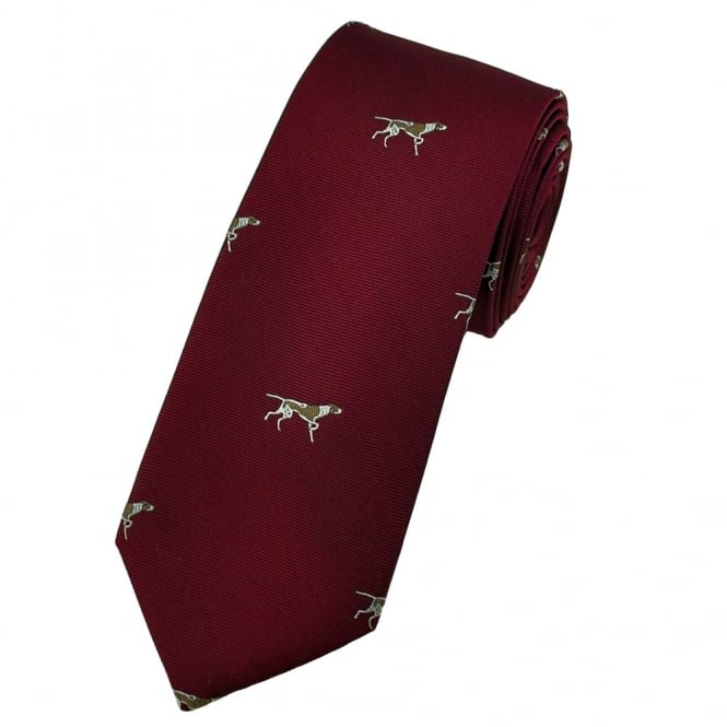 Pointer Gun Dog Burgundy Red Luxury Silk Narrow Country Tie
