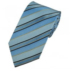Powder Blue, Black & Gold Striped Patterned Silk Tie