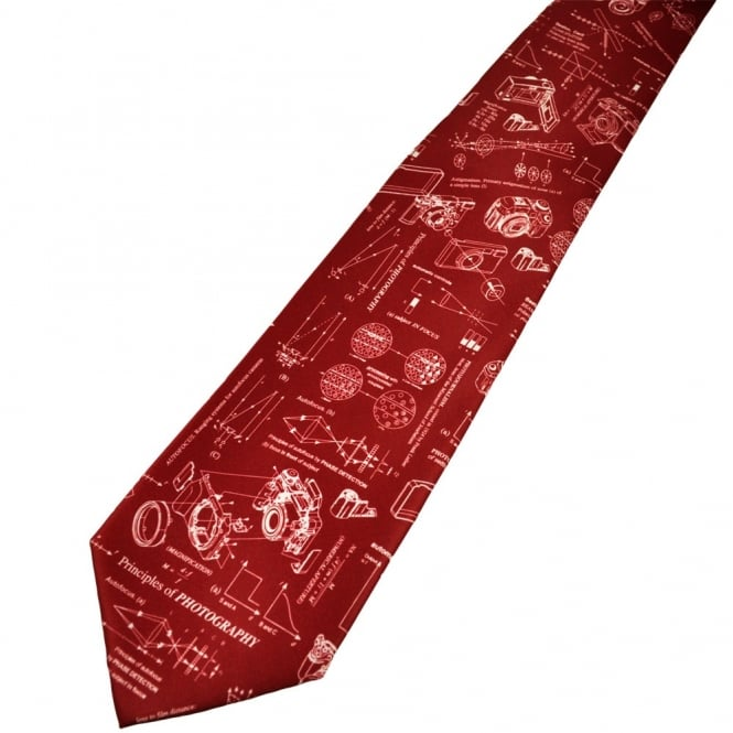 Principles of Photography Burgundy Novelty Tie