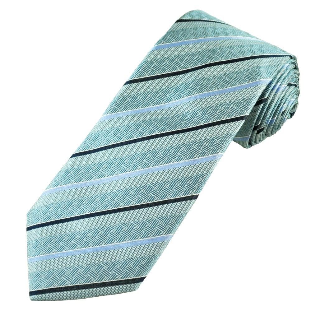 fa84e205ff27 Profuomo Aqua Blue, Navy Blue, Light Blue & White Striped Men's Silk  Designer Tie from Ties Planet UK