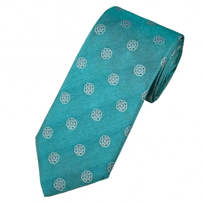 Profuomo Aqua Blue & Silver Flower Patterned Silk Designer Tie