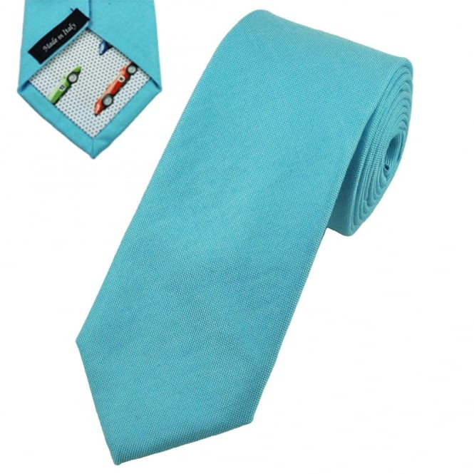 Profuomo Aqua Blue Skinny Cotton Designer Tie with Racing Car Tipping