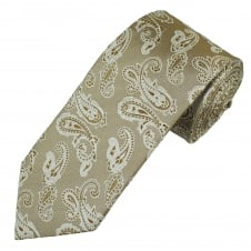 Profuomo Beige & Silver Paisley Patterned Luxury  Men's Silk Designer Tie