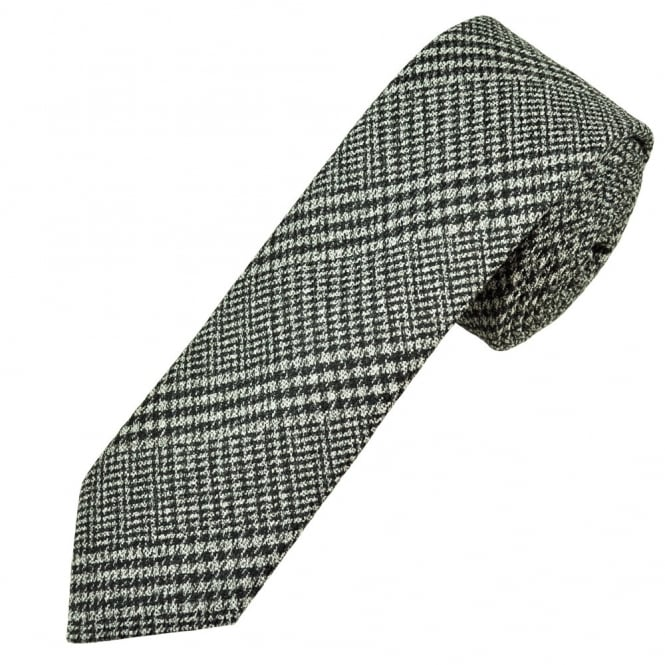 Profuomo Black & White Checked Wool Silk Blend Narrow Men's Tie