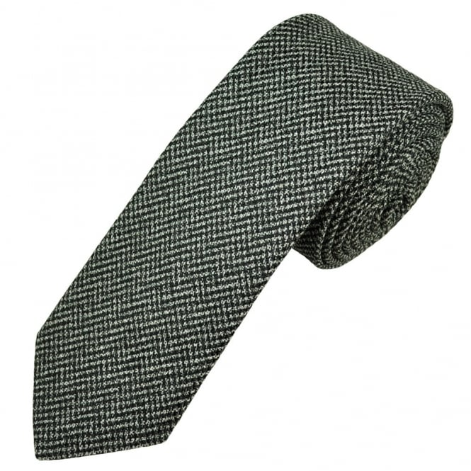 Profuomo Black & White Micro Checked Silk & Wool Blend Narrow Men's Tie