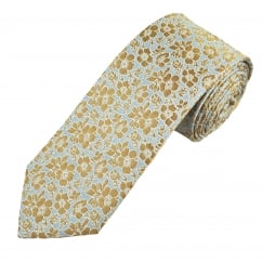 Profuomo Blue & Beige Flower Patterned Silk Designer Tie