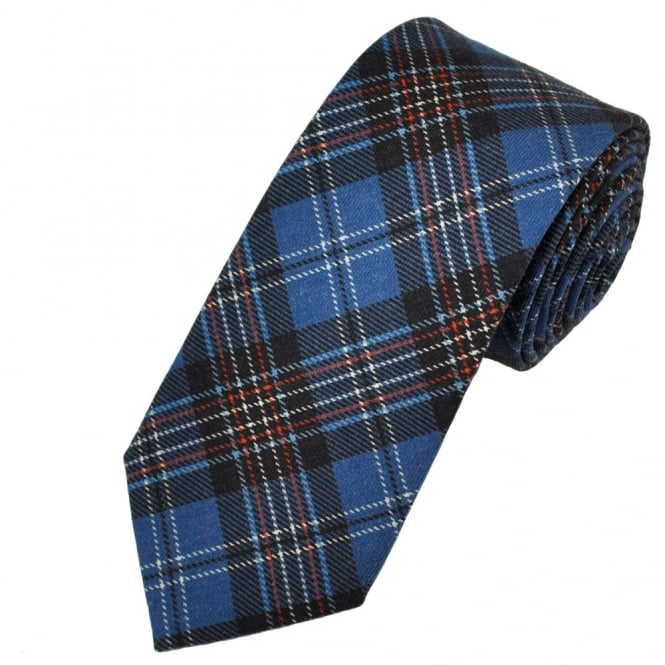 Profuomo Blue Check Patterned Wool Designer Tie