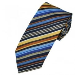 Profuomo Blue, Gold & Brown Striped Patterned Silk Designer Tie
