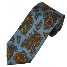 Profuomo Blue, Gold & Red Paisley Pattern Silk Designer Tie