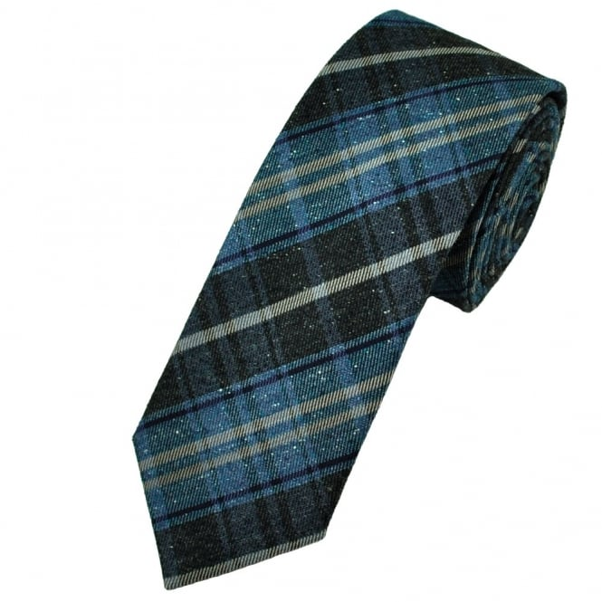 Profuomo Blue & Grey Checked Wool & Silk Designer Tie