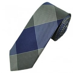 Profuomo Blue & Ivory White Checked Silk Designer Tie