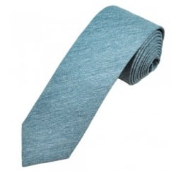 Profuomo Blue Narrow Silk Men's Tie with Floral Tipping