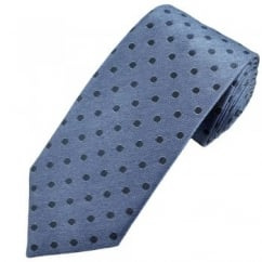 Profuomo Blue & Navy Polka Dot Men's Silk Designer Tie