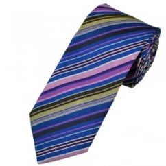 Profuomo Blue, Pink & Brown Striped Patterned Silk Designer Tie