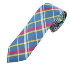 Profuomo Blue, Pink & Yellow Checked Men's Narrow Designer Silk Tie