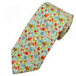 Profuomo Blue, Red & Green Flower Patterned Men's Silk Designer Tie