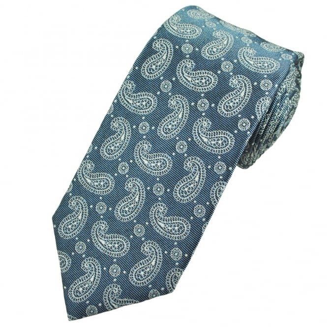 Profuomo Blue & Silver Paisley Patterned Men's Silk Designer Tie