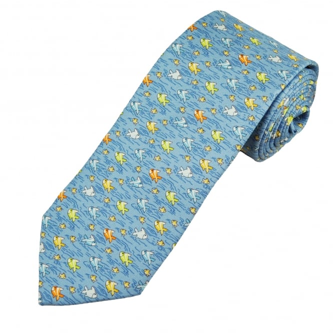 Profuomo Blue, Yellow, Lime & Gold Fish Silk Designer Tie