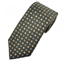 Profuomo Brown, Blue & Silver Patterned Men's Silk Designer Tie