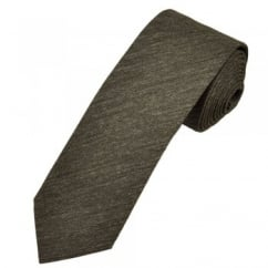 Profuomo Brown Narrow Silk Men's Tie with Floral Tipping