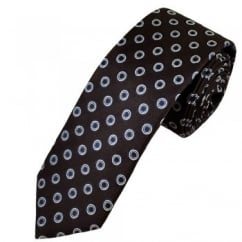 Profuomo Brown & Silver Circle Patterned Silk Designer Tie