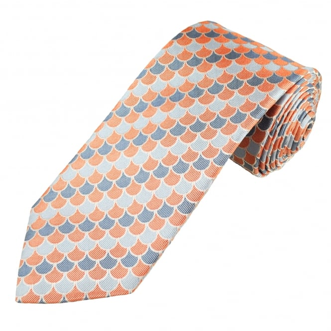 Profuomo Coral, French Navy & Silver Blue Patterned Silk Designer Tie