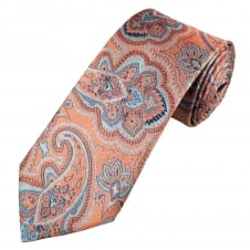 Profuomo Coral & Light Blue Paisley Patterned Silk Designer Tie