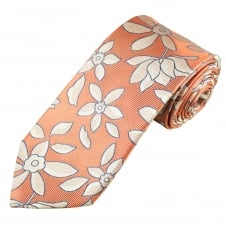 Profuomo Coral, Silver & Blue Flower Patterned Silk Designer Tie