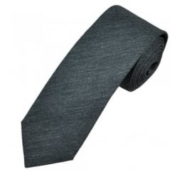 Profuomo Dark Grey Narrow Silk Men's Tie with Floral Tipping