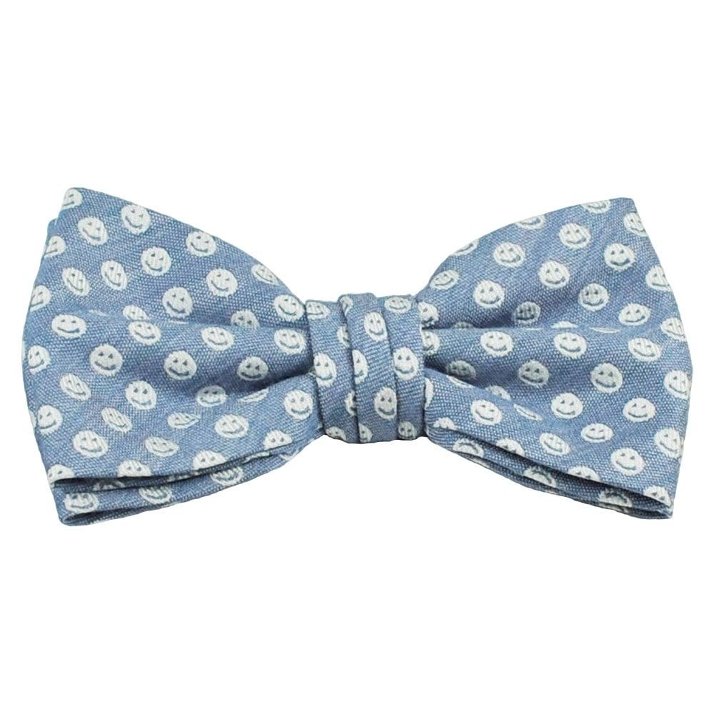 profuomo denim blue white smiley faces designer bow tie