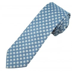 Profuomo Denim Blue & White Smiley Faces Narrow Designer Tie