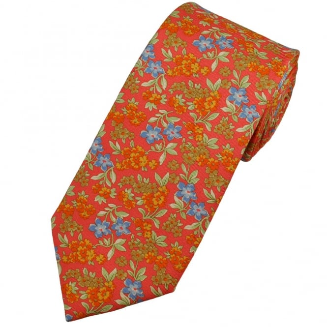 Profuomo Fuchsia Pink Flower Patterned Men's Silk Designer Tie