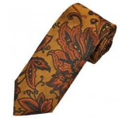 Profuomo Gold, Orange & Navy Flower Patterned Silk Men's Designer Tie