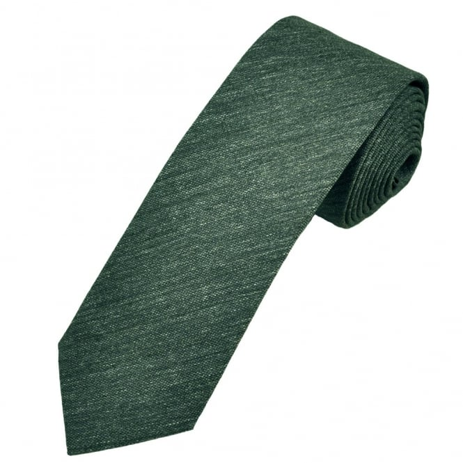 Profuomo Green Narrow Silk Men's Tie with Floral Tipping
