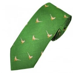 Profuomo Green Pheasants Country Themed Silk Designer Tie