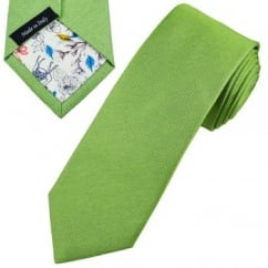 Profuomo Green Silk Narrow Designer Tie