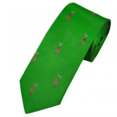 Profuomo Green Stag Country Themed Silk Designer Tie