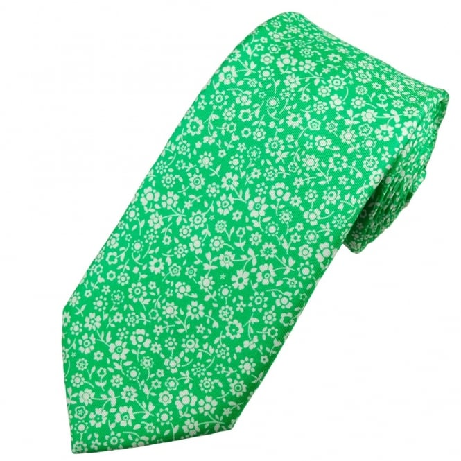 Profuomo Green & White Flower Patterned Men's Silk Designer Tie