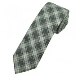 Profuomo Grey & Ivory Checked Narrow Men's Designer Tie