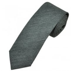 Profuomo Grey Narrow Silk Men's Tie with Floral Tipping