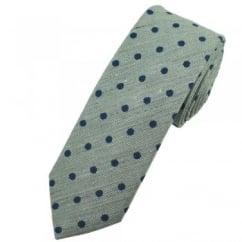Profuomo Grey & Navy Blue Polka Dot Narrow Men's Designer Tie