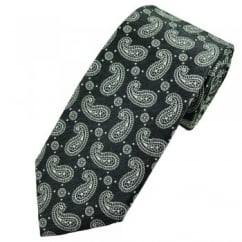 Profuomo Grey & Silver Paisley Patterned Men's Silk Designer Tie