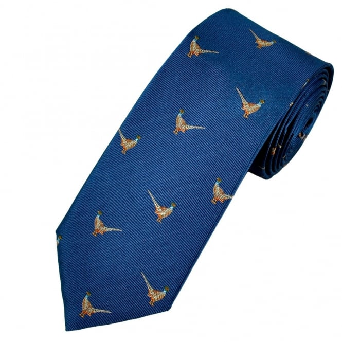 Profuomo Indigo Blue Pheasants Country Themed Silk Designer Tie
