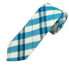 Profuomo Ivory, Blue & Grey Checked Men's Narrow Designer Silk Tie