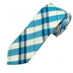 Profuomo Ivory, Blue & Grey Checked Men's Narrow Designer Silk Tie