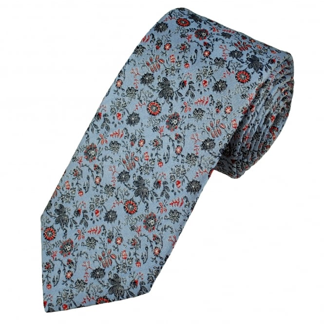 Profuomo Light Blue, Navy Blue & Red Flower Patterned Silk Designer Tie