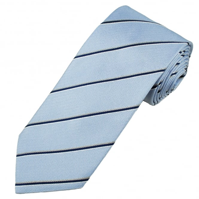 Profuomo Light Blue, Navy Blue, White & Beige Striped Silk Designer Tie