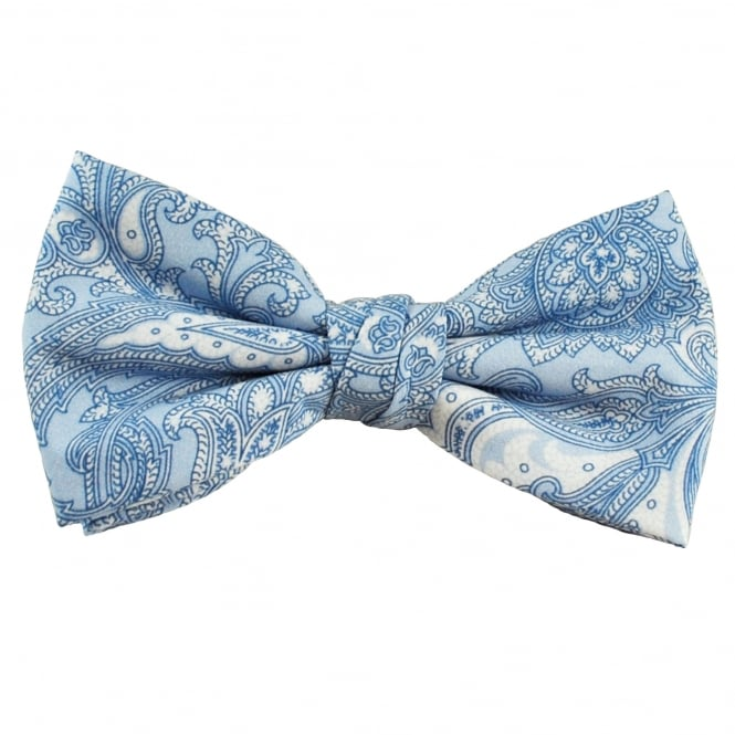 Profuomo Light Blue & White Patterned Cotton Designer Men's Bow Tie